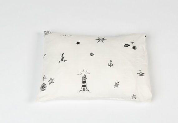 Baby Pillow Case nautical print white sea Nursery Textile Shower Gift Nursery room Decor toddler pillow case kids textile 100% cotton
