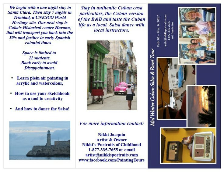 """The 2017 itinerary is out! Register at my site! HTTP://WWW.nikkisportraits.com/Shop-Now.html and click """"art holidays"""" or call 1-877-335-7655 toll free. We are having a pretrip social Nov. 25th, 2016. Call to RSVP and for location details. #Cuba #paint # Pleinair"""
