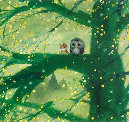 adorable!: Cat, Kitten, Sweet, Tree, Illustration, Art, Owl, Friend, Animal