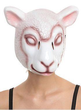 Plastic mask with eerie sheep design and elastic strap.<ul><li> Imported</li></ul>