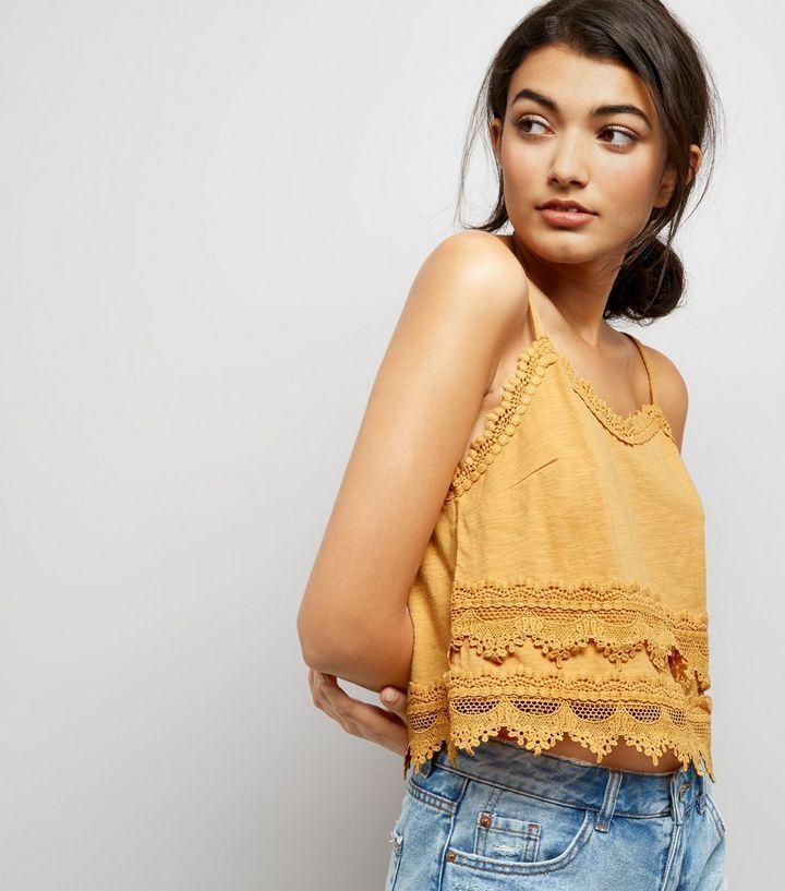 Débardeur jaune en jersey à détail en dentelle | New Look