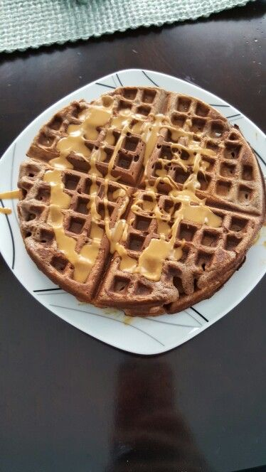 Chocolate peanut butter Herbalife waffles  2 scoops formula 1(any flavor, I used Dutch chocolate) 2 scoops protein drink mix (chocolate or vanilla) 3 eggs Topped with 2tbsp peanut butter powder, mix with extra water to make into a runny sauce