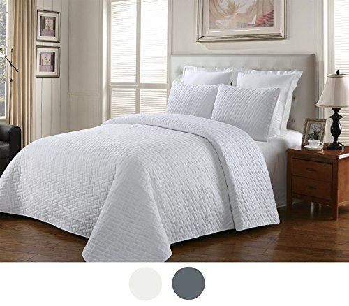 NC Home Fashions Garnet reversible quilt set FullQueen White -- For more information, visit image link.