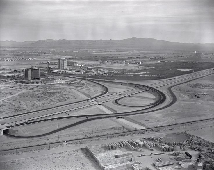 South of the Strip - The Dunes and the under-construction Caesars Palace can be seen in this aerial photo of Las Vegas, 1962. The Dunes along with its 18-hole golf course would later become the Bellagio, while Caesars, although very different, is still with us.