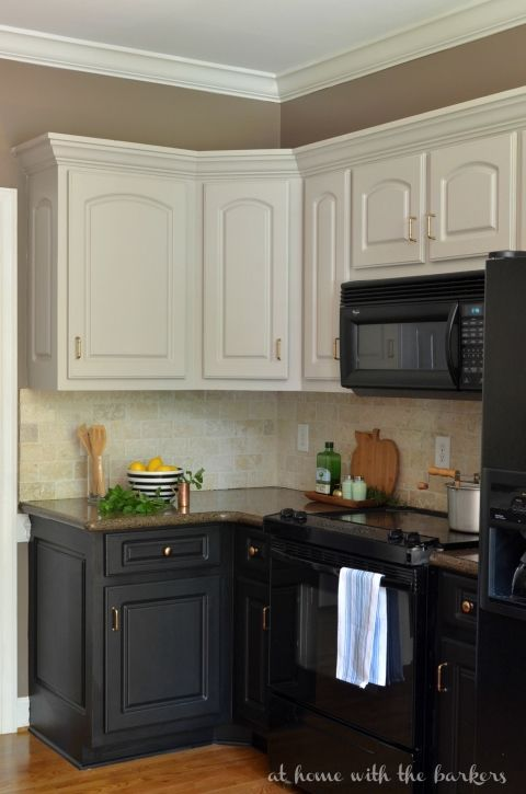 painted kitchen cabinets with black appliances - photo #21
