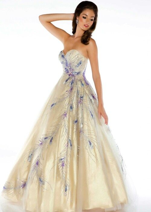 Peacock ball gown ... This would be pretty for Seminar!