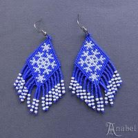Схема сережек со снежинками / Snowflake earrings peyote pattern