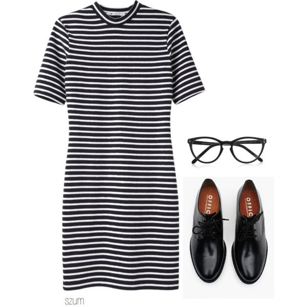 A fashion look from August 2013 featuring T By Alexander Wang dresses, Brixton oxfords and Selima Optique eyeglasses. Browse and shop related looks.