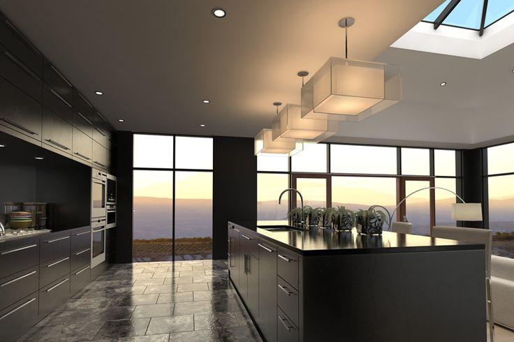 Black modern kitchen large island with storage