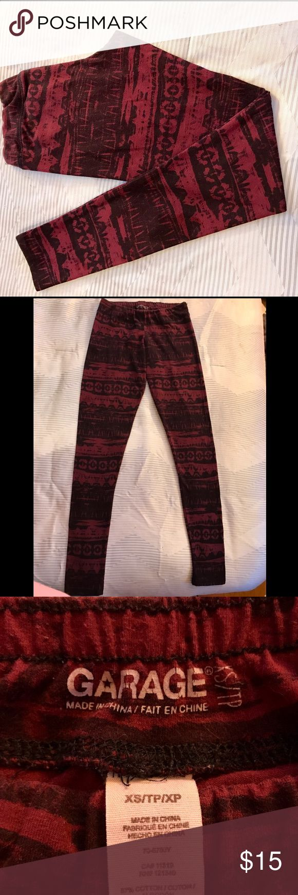 Garage Print Leggings Red Aztec Print Leggings From The Garage Size XS in Very Good Condition; Only worn a couple times. Garage Pants Leggings