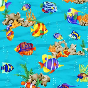 Tropical fish fabric available only in stores at walmat for Bubble guppies fish