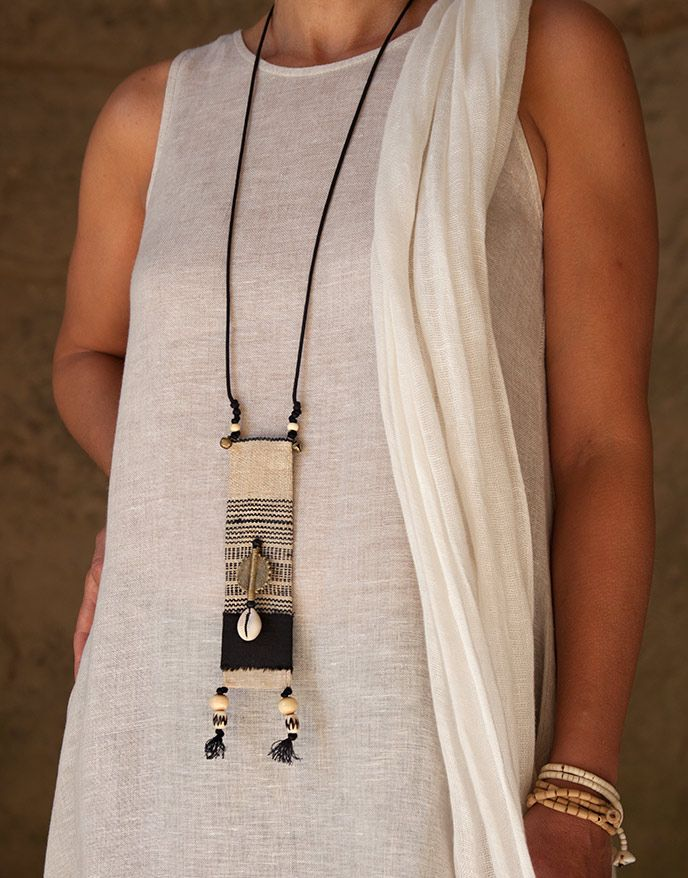 Ethnic textile jewelry with african beads -:- AMALTHEE -:- n° 3382                                                                                                                                                                                 More
