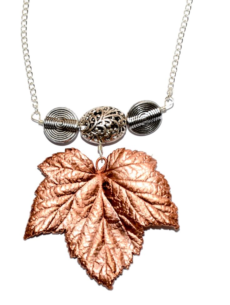 Copper Electroformed Large Blackcurrant Leaf Pendant Necklace on Brass Chain. Hand Made in Cornwall, UK by thelongwayround on Etsy