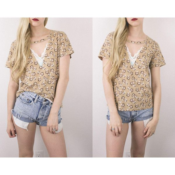 Vintage Floral Neutral Cut Out T Shirt Choker Blouse Oversized Boxy... ($28) ❤ liked on Polyvore featuring tops, blouses, silver, women's clothing, flower print blouse, floral blouse, short-sleeve blouse, pink floral blouse and cutout tops