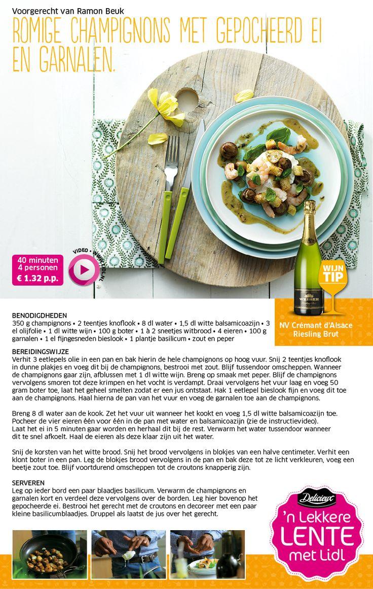 Romige champignons met gepocheerd ei en garnalen - Lenterecepten - Voorgerecht