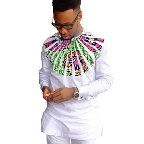 African Shirts For Men Dashiki Shirts Kitenge Shirt White-Men African Shirt-Online-9-S-Online Shopping-LeStyleParfait.Com