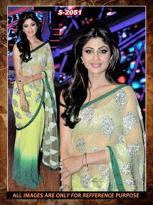 light yellow green net georgette  party wear saree with blouse Bollywood Sarees Online on Shimply.com