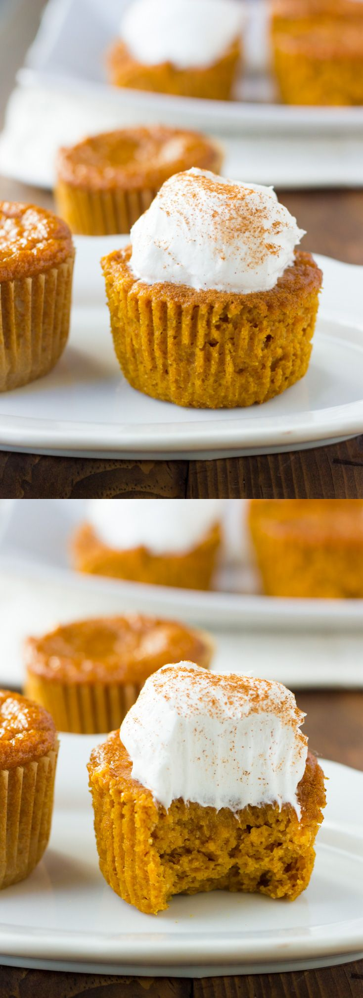 Gluten-Free Crustless Pumpkin Pie Cupcakes! So easy to make and perfect for Thanksgiving. (Dairy-Free)