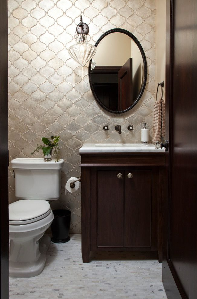 Wall tiles design for hall bathroom mediterranean with black waste basket towel ring toilet paper dispenser