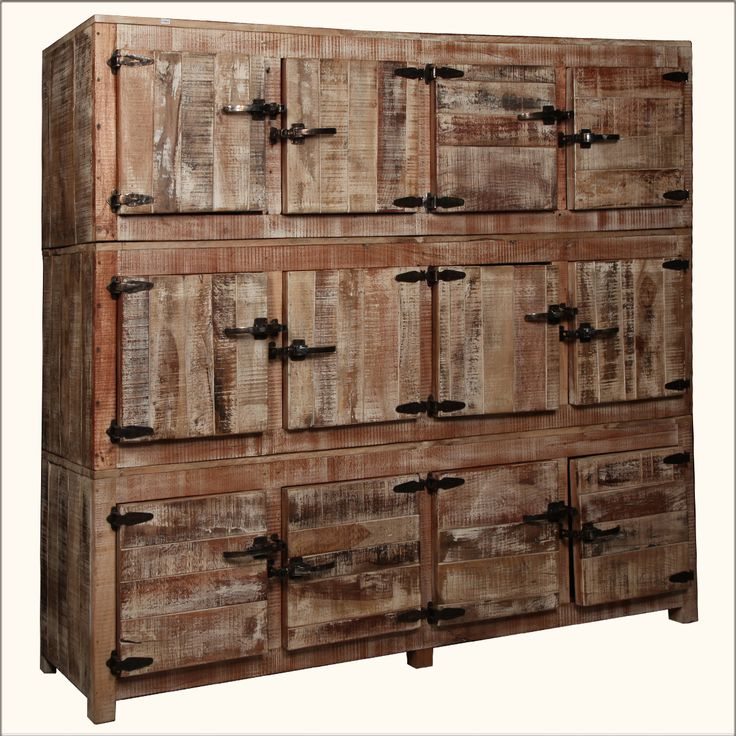 Large Rustic Reclaimed Wood 12 Storage Box Wall Unit Cabinet