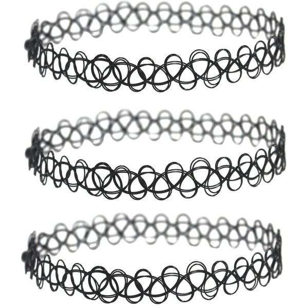 Amazon.com: 3 Pack - Henna Tattoo Choker Necklace, Black Stretch... ($3.63) ❤ liked on Polyvore featuring jewelry, necklaces, accessories, choker necklace, stretch choker, tattoo choker necklace, stretchy necklace and stretchy choker