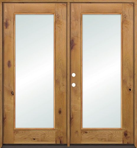 Full lite knotty alder wood french patio doors with low e for Full glass patio door