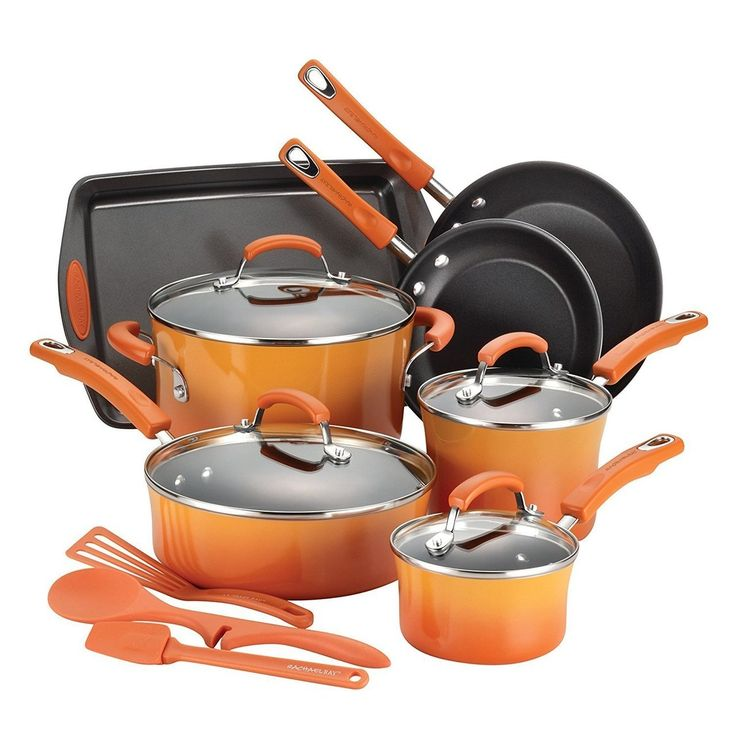 RACHAEL RAY Porcelain Nonstick 14-Piece Cookware Set - Orange $95 - FREE SHIPPING OR PICK UP - COMPARE ELSEWHERE $150+) InterexHome.Com