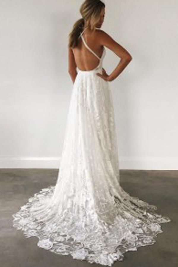 Ivory Spaghetti Strap Lace Open Back Side Split Long Beach Wedding Dresses, SW113 #Weddingdresses #Weddinggowns #Laceweddingdress #Openbackweddingdress