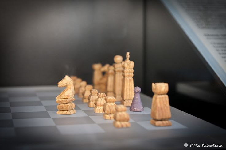 Handmade chess pieces by prisoner in Dachau concentration camp