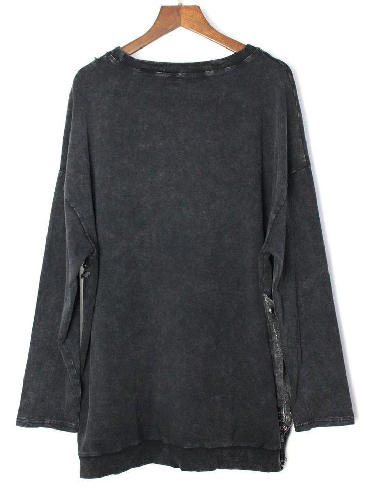 Loose Black Long Sleeve Star Asymmetrical Pullover Sweatshirt – Products