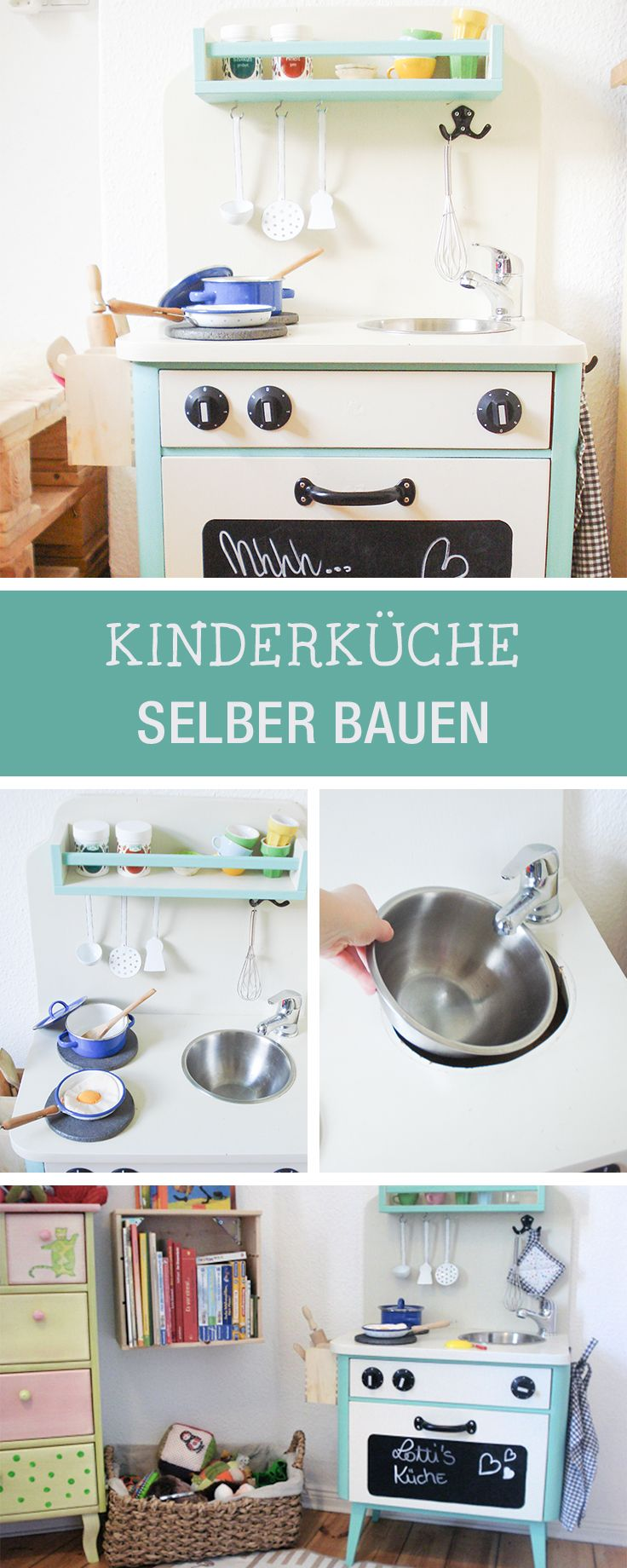 DIY fürs Kinderzimmer: Kinderküche selberbauen, Kinderzimmer Deko / diy furniture for the nursery: play kitchen for kids via DaWanda.com