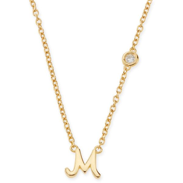 Shy By Se M Initial Pendant Necklace with Diamond (1 760 ZAR) ❤ liked on Polyvore featuring jewelry, necklaces, accessories, gold, jewelry pendants, initial necklace, initial pendant necklace, diamond initial necklace, diamond necklace and charm necklaces