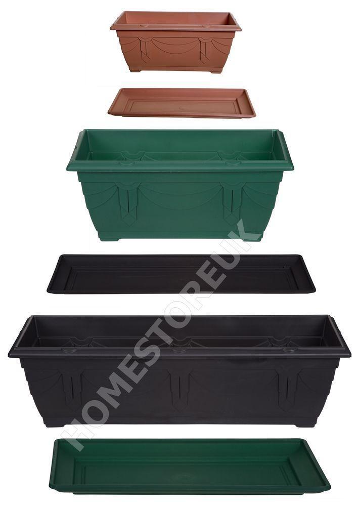 Details About Rectangular Window Box Plastic Planter Pot Water
