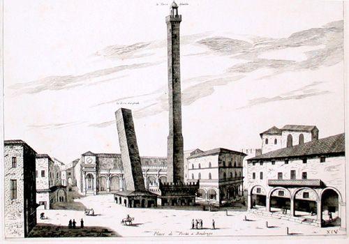 "JOAN BLAEU - PIERRE MORTIER  ""Place di Porta a Boulonge"" (Due Torri)  Dall'opera: Nouveau Théâtre d'Italie, Amsterdam, 1704/5"