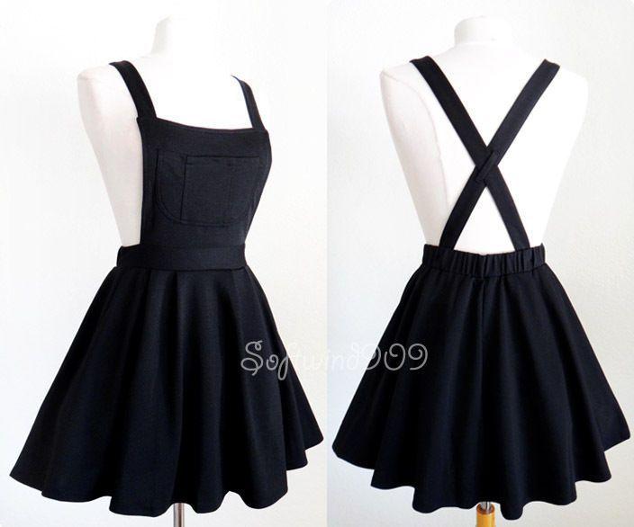 NEW Black Soft Knit Crisscross Suspender High Waisted Pleated CUTE Overall Skirt