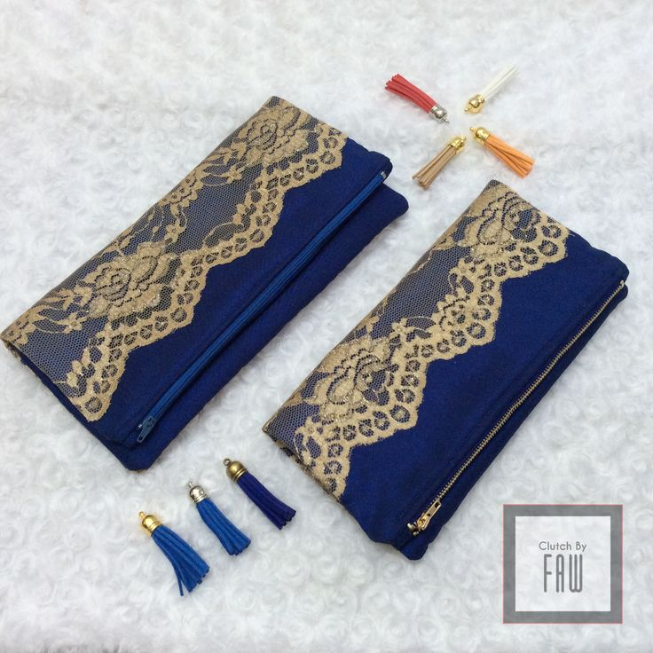 Plain dark blue with gold lace foldover clutch