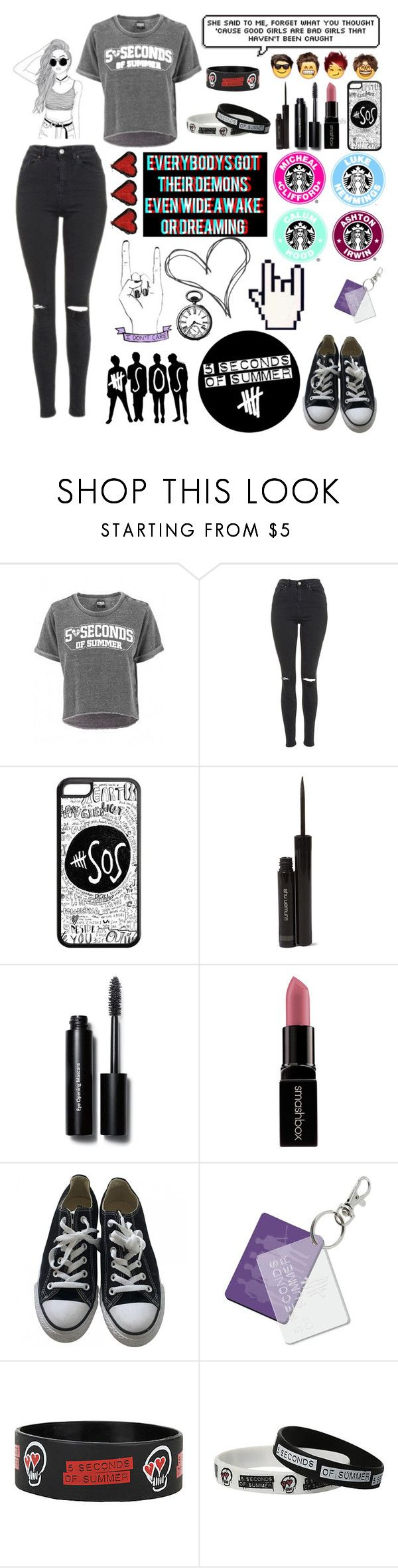 """""""5sos Concert """" by janie2022 ❤ liked on Polyvore featuring Topshop, shu uemura, Bobbi Brown Cosmetics, Smashbox, Converse and Sephora Collection"""