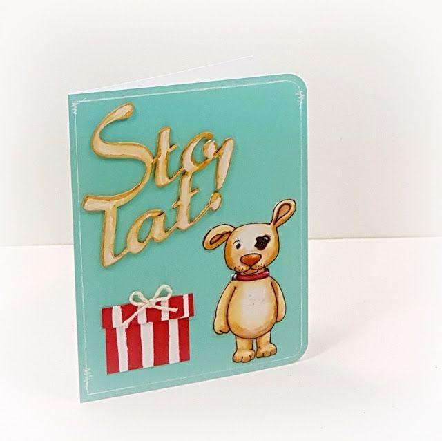 """http://tworyflory.blogspot.com/ Handmade birthday card. Papelia.pl stamp """"Fifi""""."""