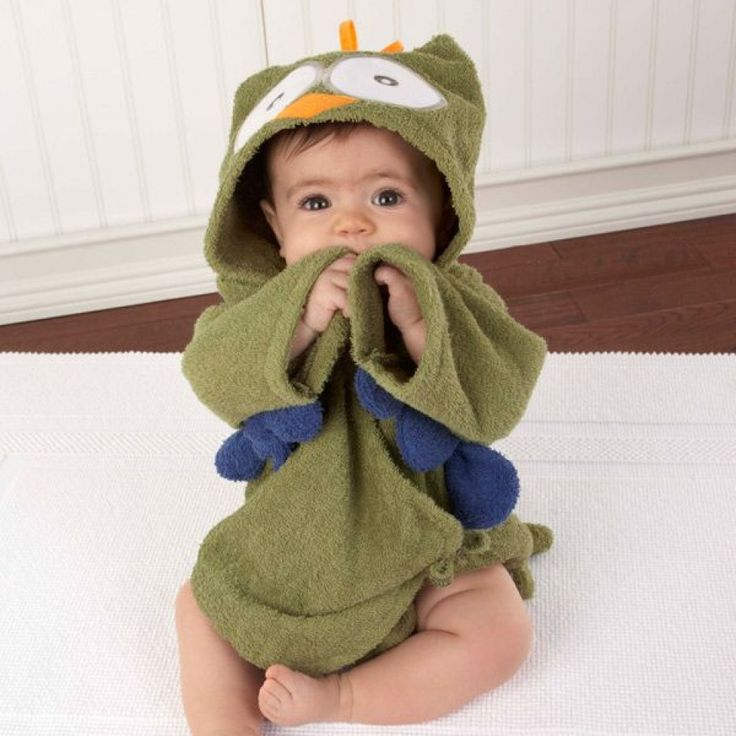 Peignoir bébé 100% coton vert hibou.