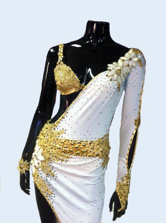 White and Gold Latin Dance Dress  Dance Dress by DesignByNatasha, $959.00