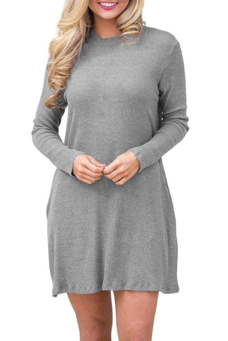Robe Pull Tricot Gris Manches Longues Col Roule Pas Cher www.modebuy.com @Modebuy #Modebuy #Gris #simple #prom #unique #style