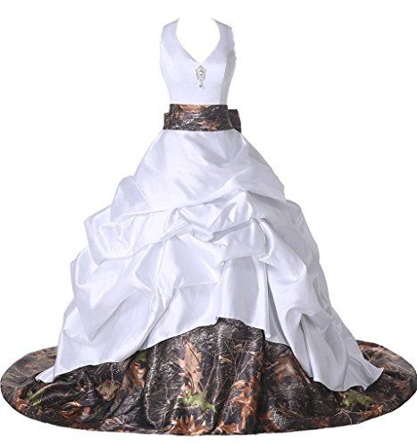 Ivydressing Gorgeous Satin and Camouflage Halter Trailing Prom Dresses Party Gowns26WWhite ** Please continue read.