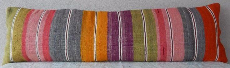 14''X 48'' Bohemian Bedding Kilim Pillow Cover,Wool Handmade Hippie Bed Pillow   #Handmade