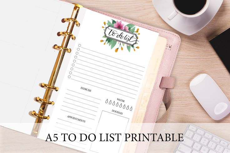 A5 Planner Insert Floral To Do List by PrintableHaven on @creativemarket