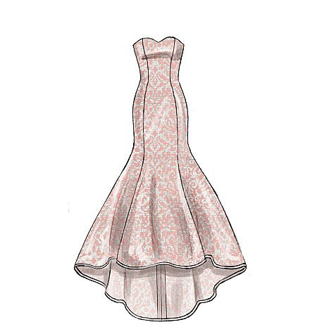 Special occasion dress sewing pattern from McCall's featuring a body-con fit and dramatic mermaid hem. M7320. Perfect for bridal and prom.