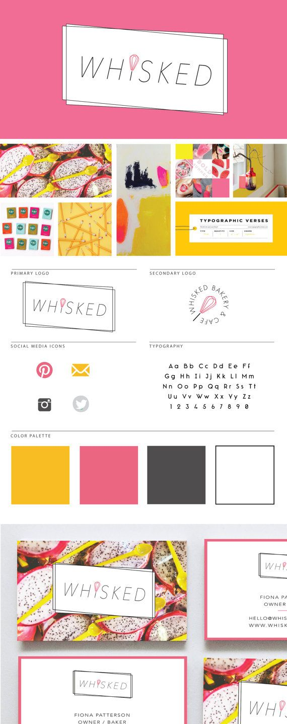 Deluxe Branding Package for Creatives on Etsy /// Logo + submark + moodboard + color palette + typography + business cards. Love the pink and yellow color palette!