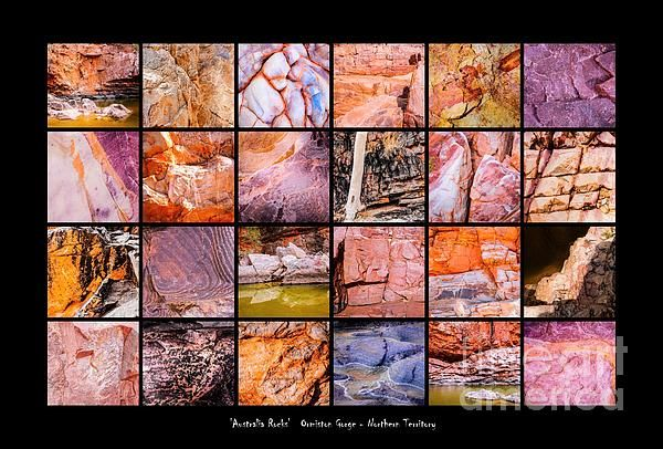 Ormiston Gorge. 'AUSTRALIA ROCKS' Montages. An intimate look at the incredibly fascinating rocks and their formations around Australia. This country has some of the oldest and diverse rock formations in the world.   Visit my photo gallery and get a beautiful Fine Art Print, Canvas Print, Metal or Acrylic Print. 30 days money back guarantee on every purchase so don't hesitate to bring some 'INTEREST and COLOUR' in your home or office!  Prints for sale by Lexa Harpell.