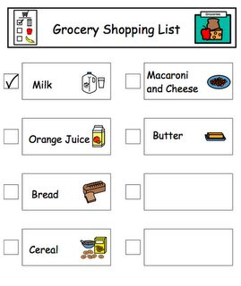 Free Grocery List template and Free pictures of common grocery items!