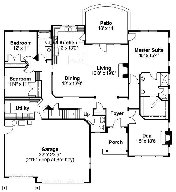 First Floor Plan of Craftsman   House Plan 69679