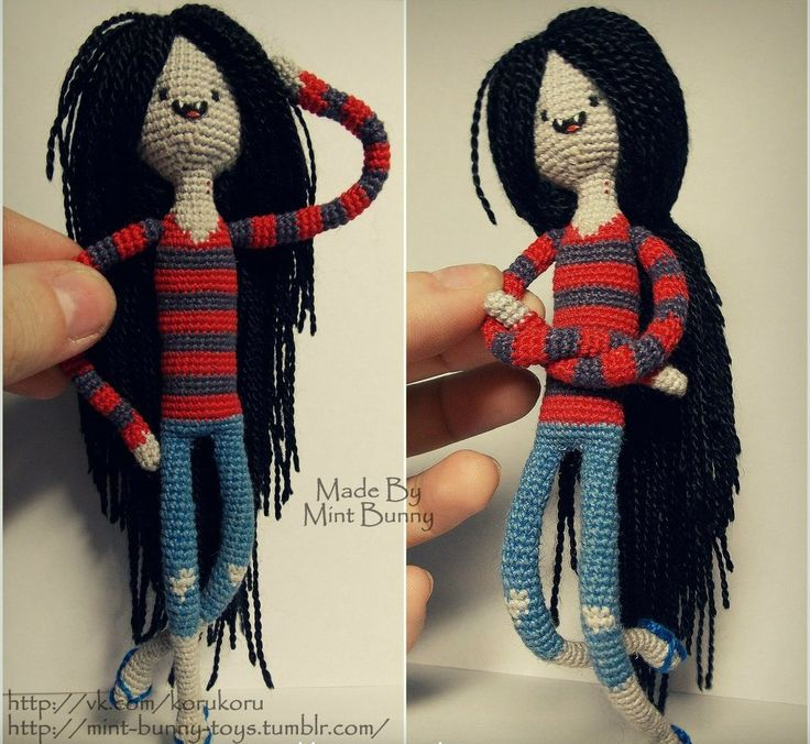 Marceline the Vampire Queen Crochet Amigurumi - Adventure Time Tight stitching. Amigurumi perfection.